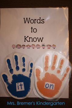 High-five high frequency words.... children can high five a word on their way out the door, or from the carpet to cubby area....