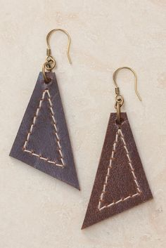 Image result for stitched leather earrings