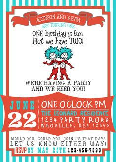Dr Suess Thing 1 Thing 2 Birthday Invitation by GoodHueDesigns, $10.00