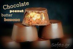 Γεμιστά σοκολατάκια με φιστικοβούτυρο και μπανάνα, χωρίς ζάχαρη! Peanut Butter Banana, Chocolate Peanut Butter, Chocolate Peanuts, Dairy, Pudding, Cheese, Baking, Desserts, Posts