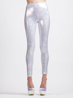 White Holographic Super High Waist Liquid by AliciaZenobia on Etsy, $50.00
