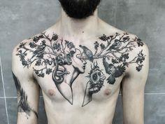healed chest tattoo with birds by @monika_malewska