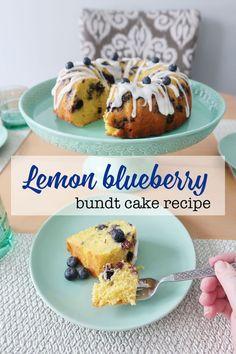 Easy lemon blueberry bundt cake recipe using a boxes cake mix. #LemonCake #desserts