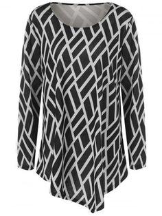 Geometric Print Plus Size Tunic T-Shirt