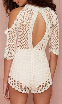 @roressclothes closet ideas #women fashion outfit #clothing style apparel  Cream crochet romper: