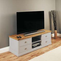 Seldon TV Stand In Grey With Oak Veneer Top And 4 Drawers 27