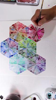 Watercolor Mandala Gradient Pattern - Selina P. Mandala Art, Watercolor Mandala, Mandala Drawing, Watercolor Pattern, Watercolor Paintings, Islamic Art Pattern, Pattern Art, Mandala Pattern, Wow Art