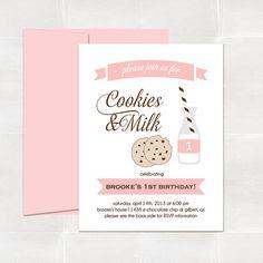 cookies and milk birthday invitation. pink. printed by elleandbean, $16.00