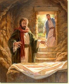 Jesus is risen from the dead  Defeating death by death  And giving life to those in the grave
