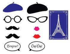 Parisian Theme Photo Booth PropsFrench Themed by CrowningDetails, $7.95