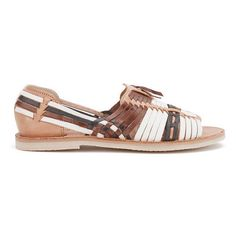 Chamula Women's Uxmal Slip-On Leather Sandals (1.996.700 VND) ❤ liked on Polyvore featuring shoes, sandals, woven leather sandals, huarache sandals, tan sandals, slip on sandals and open toe flat sandals