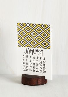 Wood You Happen to Know the Date? Calendar. Youre always on top of timing from glancing amorously at this unique desk calendar day after day! #multi #modcloth