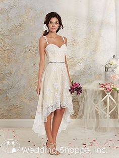 Vintage inspired lace high low wedding dress.