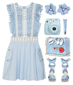 """Feeling A Little Blue"" by misshonee ❤ liked on Polyvore featuring self-portrait, Altuzarra, WithChic, Fujifilm and shu uemura"