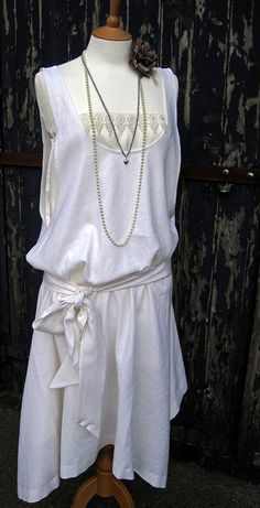 Art Deco 1920s Flapper Linen Pinafore Dress with Deco Lace Trim Chemise Sash Asymmetric Handkerchief Dropped Waist Gatsby Wedding Bridesmaid