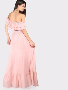 Cute Pink Frill Off Shoulder Tiered Hem Pom Pom Belt Boho A-Line Maxi Dress New | eBay