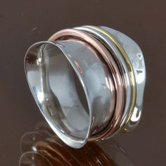 925 SOLID STERLING SILVER LATEST Three Tone Spinner RING 6.09g DJR9486 SIZE-6 #Handmade #Ring