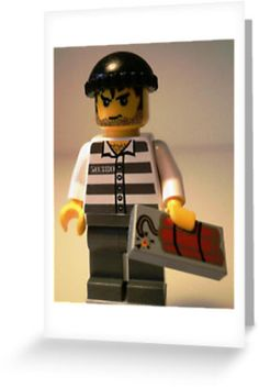 """""""Convict Prisoner LEGO® City Minifigure with Dynamite Tile, by 'Customize My Minifig'"""" Greeting Cards & Postcards by Chillee 