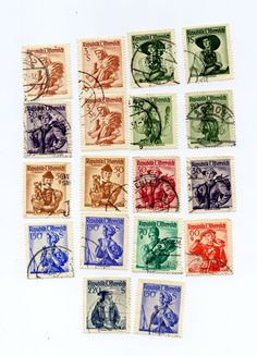 18 Vintage Austrian Postage Stamps National by FloridaQuarry