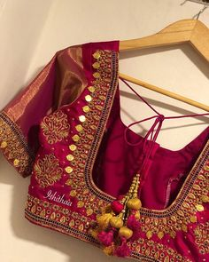 marvelous maroon color bridal designer blouse with hand embroidery gold Bling ! marvelous maroon color bridal designer blouse with hand embroidery gold Wedding Saree Blouse Designs, Pattu Saree Blouse Designs, Blouse Designs Silk, Designer Blouse Patterns, Wedding Blouses, Kurti Patterns, Dress Designs, Sleeve Designs, Hand Work Blouse Design