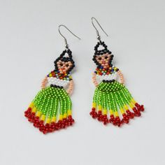 00976e883 Frida Kahlo earrings Mexican Lady Earrings Mexican Fiesta Doll Earrings  Frida Kahlo jewelry Beaded E Seed