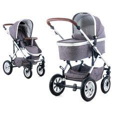 Schicker Kombi-Kinderwagen mit umsetzbarer Sitzeinheit, Regenschutz und Adapter-Set für Ihre Babyschale.