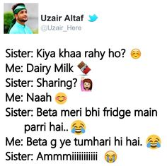 hahah mere saath hmesha aisa hota h Brother Birthday Quotes, Little Boy Quotes, Sister Quotes Funny, Brother Sister Quotes, Brother And Sister Love, Funny Quotes, Funny Sister, Quotes Quotes, Funny Memes