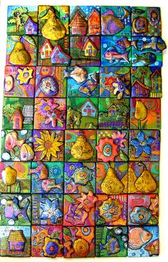 a Mused Studio: 40 Polymer Clay Picture Tiles Polymer Clay Sculptures, Polymer Clay Canes, Fimo Clay, Sculpture Clay, Polymer Clay Jewelry, Clay Art Projects, Polymer Clay Projects, Polymer Clay Creations, Clay Crafts