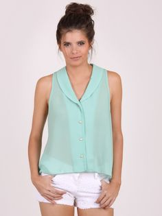 Mint Condition Sleeveless Collared Top by Sketchbook