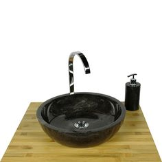 Marmor - Waschbecken MILO 40 cm schwarz
