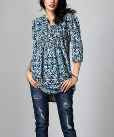 Blue Floral Notch Neck Pin Tuck Tunic