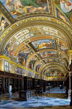 Beautiful Libraries and Bookshops...Library of Royal Monastery of San Lorenzo del Escorial, Madrid, Spain