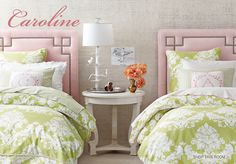 Love everything about this for the girls.... Colors, headboard, patterns... Definitely yes.