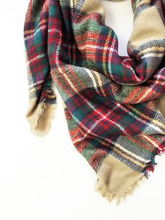 Blanket Scarf - Tan Plaid #mindymaesmarket #dreamcloset