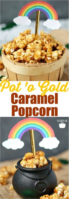St. Patrick's Day Pot of Gold Caramel Popcorn recipe from The Country Cook including free printables for gift giving