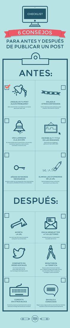 6 Consejos para antes y después de publicar un post. #socialmedia #blog