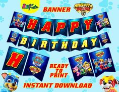 Paw Patrol Mighty Pups Banner, Migthy Pups pennants, Migthy pups birthday party, super paws banner,