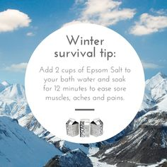 Have winter sports, shoveling, and cold temps left you with sore muscles? Loosen up with a warm Epsom Salt bath. #winter #epsomsalt #bath