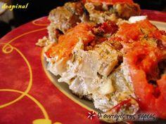 Χοιρινό με γιαούρτι και τυριά στη γάστρα #sintagespareas Potato Salad, Food And Drink, Cooking Recipes, Meat, Chicken, Dinner, Ethnic Recipes, Crafts, Dining