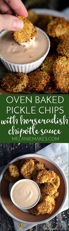 A favorite appetizer gets a makeover! These Oven Baked Pickle Chips with Horseradish Chipotle Sauce are not only baked instead of fried but their flavor quotient has been upped thanks to being dredged in an amazing horseradish sauce.