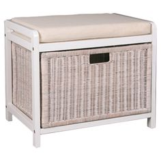 Hamper Bench With Cushion Teak Bathroom Storage Seating