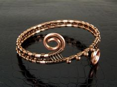 Copper Wire Wrapped Bangle Bracelet Double Beaded by BonzerBeads, $24.00