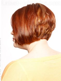 Stacked Bob Short Hairstyle For Older Women Side View