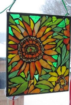 sunflower stained glass by zelma