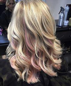 Blonde hair pink peekaboo hair, peekaboo hair colors, pink blonde h Pink Peekaboo Hair, Blonde To Pink Ombre, Blonde With Pink, Hair Color Pink, Purple Hair, Ombre Hair, Pink Peekaboo Highlights, Burgundy Hair, Pink Hair Streaks