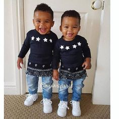 Image may contain: 2 people, people standing Black Twin Babies, Twin Baby Boys, Cute Black Babies, Beautiful Black Babies, Cute Twins, Beautiful Children, Adorable Babies, Baby Swag, Pretty Baby
