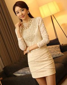 Korean version of the OL elegant lace shirt with necklace