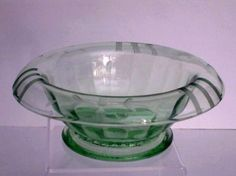 Mayonnaise Sauce Serving Bowl Depression Vaseline Green Glass Etched Footed
