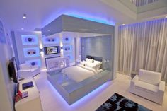 Futuristic Bedroom Furniture Design In Hard Rock Hotel Las Vegas Neon Bedroom, Silver Bedroom, Music Bedroom, Light Bedroom, Hotel Bedroom Design, Bedroom Furniture Design, Bedroom Designs, Bedroom Ideas, Bedroom Decor