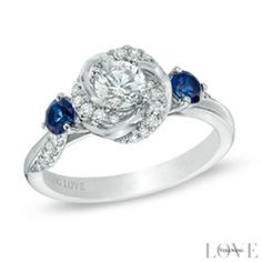 Vera Wang LOVE Collection 5/8 CT. T.W. Diamond and Blue Sapphire Swirl Engagement Ring in 14K White Gold